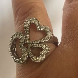 Jewelry - Heart silver color ring adjustable from Sz 7.5 up